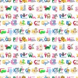 Zoo animals alphabet seamless pattern abc vector background cute cartoon wild characters illustration. Creative kids texture for fabric, wrapping, textile royalty free illustration