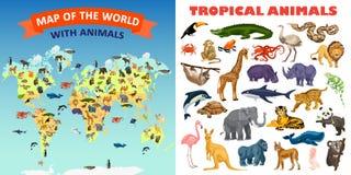 Zoo animals banner set, cartoon style stock illustration