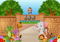 Zoo and animals in a beautiful nature. Illustration of zoo and animals in a beautiful nature Royalty Free Stock Image