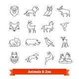 Zoo animals and birds. Thin line art icons set Stock Photography