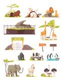 Zoo Animals Cartoon Icons Collection royalty free illustration