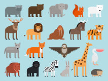 Free Zoo Animals Flat Icons Royalty Free Stock Photo - 82767835