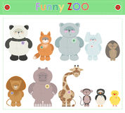 Zoo Animals. Funny plush little animals  Vector cartoon Royalty Free Stock Photo