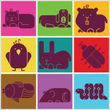 Zoo animals icons Stock Images