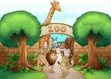 A zoo and the animals. Illustration of a zoo and the animals in a beautiful nature Royalty Free Stock Image
