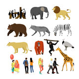 Zoo animals isolated on white background. Vector illustration. Wild african animals. Many different animals, giraffe, elephant, bear, lion, panda and monkey Stock Photo