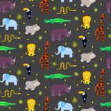 Zoo animals kid seamless pattern vector. Stock Images