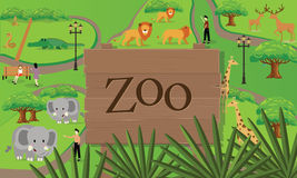 Zoo animals map sign board wood nature vector illustration Stock Photography