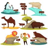 Zoo animals names and map direction wooden signs vector cartoon infographic guide icons set. Zoo animals names and direction signs vector cartoon infographic Royalty Free Stock Image