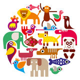 Zoo Animals - round vector illustration Stock Images