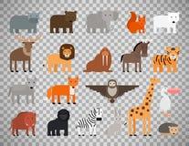 Zoo animals set on transparent background Stock Image