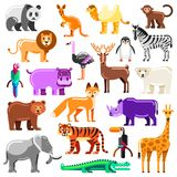 Zoo animals set. Vector flat illustration. Cute colorful characters isolated on white background royalty free illustration