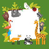 Zoo animals. Template for banner Royalty Free Stock Photography