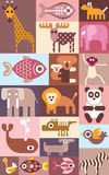 Zoo animals vector collage Royalty Free Stock Photography