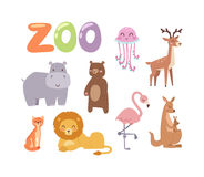 Zoo animals vector set. Vector zoo animals. Many different animals baby panda, sea whale, beautiful octopus, large buffalo, horned goat. Zoo animal character Royalty Free Stock Images