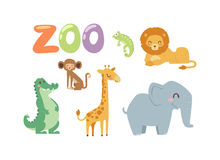 Zoo animals vector set. Vector zoo animals. Many different animals baby panda, sea whale, beautiful octopus, large buffalo, horned goat. Zoo animal character Royalty Free Stock Photo