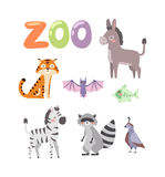 Zoo animals vector set. Royalty Free Stock Images