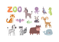 Many Different Wild Animals Vector Illustration Stock