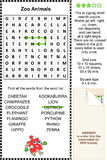 Zoo animals wordsearch puzzle Stock Images