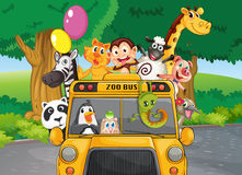 A zoo bus with animals. Illustration of a zoo bus with animals Royalty Free Stock Photo
