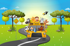 A zoo bus travelling loaded with animals. Illustration of a zoo bus travelling loaded with animals Royalty Free Stock Photo