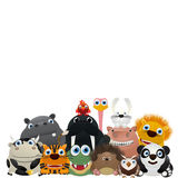 We are the ZOO. Zoo card, cute animal charactes over a white background Stock Illustration