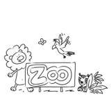 Zoo cartoon animals Stock Images