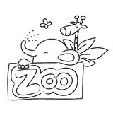 Zoo cartoon animals. Cute Zoo animals vector illustration, lineart hand drawing Stock Photography