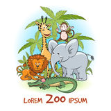 Zoo cartoon animals logo Stock Images