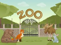 Zoo with cartoon animals Stock Image