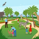 Zoo Cartoon Background. With tropical animals and people visiting and photographing flat vector illustration Stock Photo