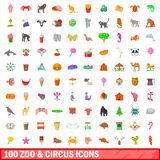 100 zoo and circus icons set, cartoon style. 100 zoo and circus icons set in cartoon style for any design vector illustration Royalty Free Stock Photo