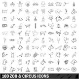 100 zoo and circus  icons set, outline style. 100 zoo and circus  icons set in outline style for any design vector illustration Royalty Free Stock Photography
