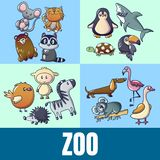 Zoo concept banner, cartoon style. Zoo concept banner. Cartoon banner of zoo vector concept for web, giftcard and postcard vector illustration