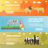 Zoo concept banners. Animals in zoopark, panda, zebra, lions. Vector illustration in flat style design Stock Photo