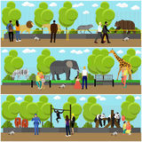 Zoo concept banners. People visiting zoopark with family and kids. Animals Vector illustration in flat style design Royalty Free Stock Image