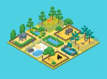 Zoo Concept 3d Isometric View. Vector. Zoo Concept 3d Isometric View Animal Wildlife Nature Park on a Blue Background. Vector illustration of Zoological Garden Stock Photography