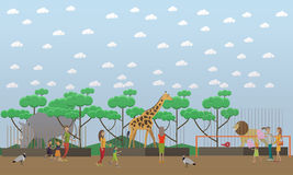 Zoo concept vector illustration in flat style design. Royalty Free Stock Photography