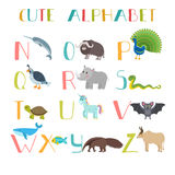 Zoo. Cute cartoon animals alphabet from N to Z Royalty Free Stock Photos