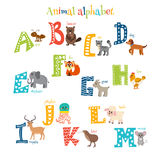 Zoo. Cute cartoon animals alphabet from A to M in cartoon style Stock Photography