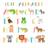 Zoo. Cute cartoon animals alphabet from A to M. Vector illustration Royalty Free Stock Photos