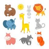 Zoo d'animaux de bande dessinée Image libre de droits