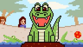 Zoo de crocodile d'art de pixel d'animation clips vidéos