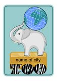 Zoo emblem or advertising template with little elephant baby carrying globe on his back Stock Photography