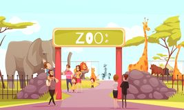 Zoo Entrance Gate Cartoon Illustration. Zoo entrance gates cartoon poster with elephant giraffe lion safari animals and visitors on territory vector illustration royalty free illustration