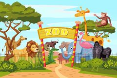 Zoo entrance gates cartoon poster with elephant giraffe lion safari animals and visitors on territory vector. Illustration Royalty Free Stock Photo