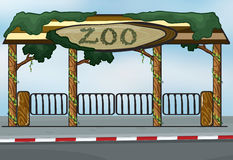 A zoo entrance. Illustration of a zoo entrance near a street Royalty Free Stock Photos
