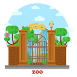 Zoo entrance with waterfall and parrots on tree Royalty Free Stock Photography