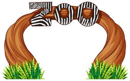 Zoo entrance with wood and grass. Illustration stock illustration