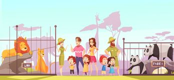 Zoo Family Visit Cartoon Poster Stock Images